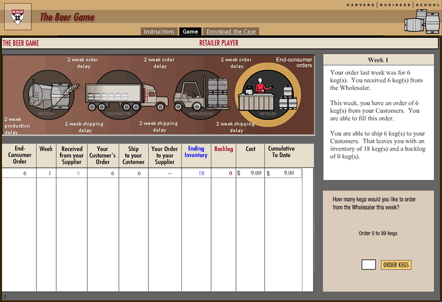 Screenshot of the inventory order page