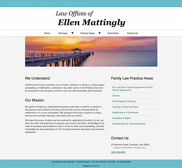 Screenshot of Ellen Matting Law.com website